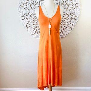 {Calypso St. Barth} Orange Linen Midi Dress